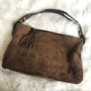 Coach brown suede shoulder bag tassel zipper